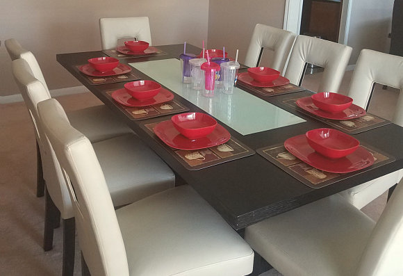 dining area with red dishes